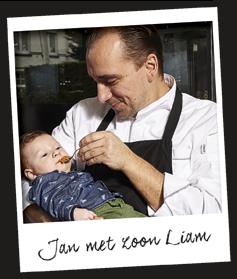 Chefkok Jan Sobecki met zoon Liam